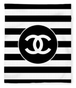 Chanel - Stripe Pattern - Black And White 2 - Fashion And Lifestyle Fleece Blanket