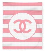 Chanel - Stripe Pattern - Pink - Fashion And Lifestyle Fleece Blanket