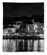 Chania By Night In Bw Fleece Blanket