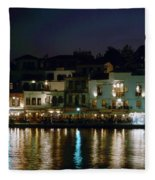 Chania By Night  Fleece Blanket