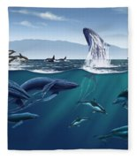 Channel Islands Whales Fleece Blanket