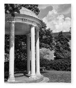 Chapel Hill Old Well In Black And White Fleece Blanket