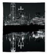Charcoal Night In Dallas Fleece Blanket
