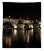 Charles Bridge At Night Fleece Blanket