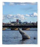Charles River Boston Ma Crossing The Charles Citgo Sign Mass Ave Bridge Fleece Blanket