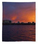 Charles River Vibrant Sunset Boston Ma Fleece Blanket