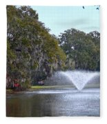 Charles Towne Landing Fountain Fleece Blanket