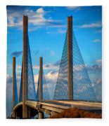 Charles W Cullen Bridge South Approach Fleece Blanket