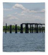 Charleston Export Coal Terminal Wooden Testle Fleece Blanket