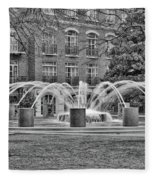 Charleston Waterfront Park Fountain Black And White Fleece Blanket