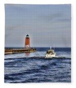 Charlevoix South Pier Light Fleece Blanket