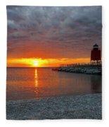 Charlevoix Sunset Fleece Blanket