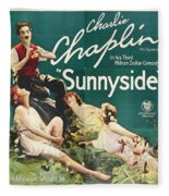 Charlie Chaplin In Sunnyside 1919 Fleece Blanket