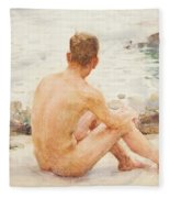 Charlie Seated On The Sand Fleece Blanket