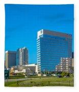 Charlotte North Carolina Cityscape Of Downtown Fleece Blanket