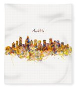 Charlotte Watercolor Skyline Fleece Blanket
