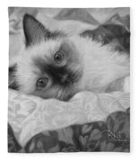 Charming - Black And White Fleece Blanket
