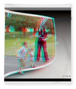 Chasing Bubbles - Use Red-cyan 3d Glasses Fleece Blanket