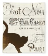 Chat Noir Paris Fleece Blanket