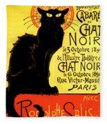 Chat Noir Vintage Fleece Blanket