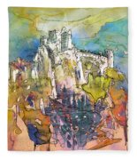 Chateau Cathare De Puylaurens 01 - France Fleece Blanket