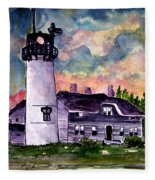 Chatham Lighthouse Martha's Vineyard Massachuestts Cape Cod Art Fleece Blanket