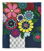 Checkered Bouquet Fleece Blanket