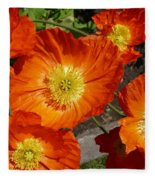Cheerful Orange Flowers  Fleece Blanket