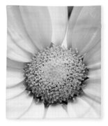 Cheery Daisy - Black And White Fleece Blanket