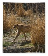 Cheetah  In The Brush Fleece Blanket