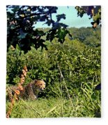 Cheetah Zoo Landscape Fleece Blanket