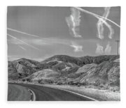 Chem Trails Over Valley Of Fire Black White  Fleece Blanket