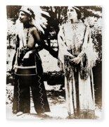 Cherokee Indian Couple Fleece Blanket