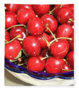 Cherries In A Bowl Close-up Fleece Blanket