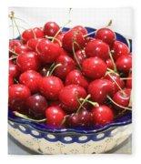 Cherries In Blue Bowl Fleece Blanket