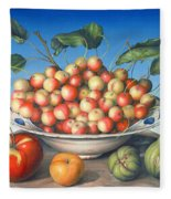 Cherries In Delft Bowl With Red And Yellow Apple Fleece Blanket