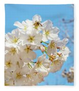 Cherry Blossom And A Bee Fleece Blanket