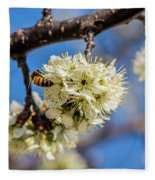 Pear Blossom And Bee Fleece Blanket
