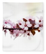 Cherry Blossom Branch Fleece Blanket