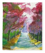 Cherry Blossom Lane Fleece Blanket