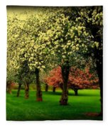 Cherry Blossom Trees Fleece Blanket