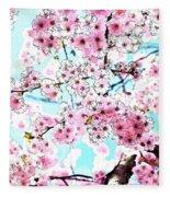 Cherry Blossom Watercolor Fleece Blanket