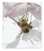 Cherry Blossom With Bee Fleece Blanket