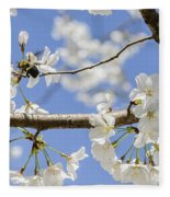 Cherry Blossoms And Bumblebee Fleece Blanket