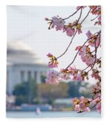 Cherry Blossoms And Jefferson Memorial Fleece Blanket