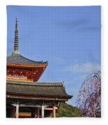 Cherry Blossoms And Kiyomizu-dera Fleece Blanket