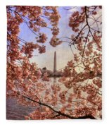 Cherry Blossoms And The Washington Monument Fleece Blanket