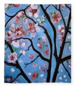 Cherry Blossoms In Bloom Fleece Blanket
