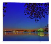 Cherry Blossoms Sunrise Fleece Blanket