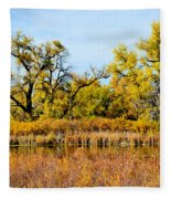 Cherry Creek Pond In Autumn Fleece Blanket